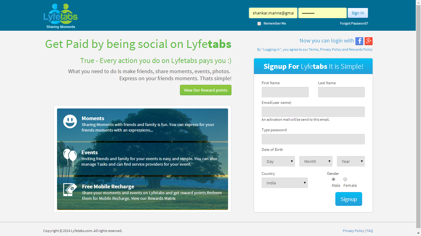 Get Paid by being social on Lyfetabs. What you need to do is make friends, share moments, events, photos. Express on your friends moments. Thats simple!.><br /><a href='http://www.lyfetabs.com' target='_blank'>http://www.lyfetabs.com</a>